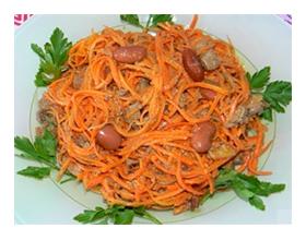 Салат с морковью и фасолью грибами