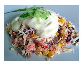 Рецепт салата крабовых палочек с рисом